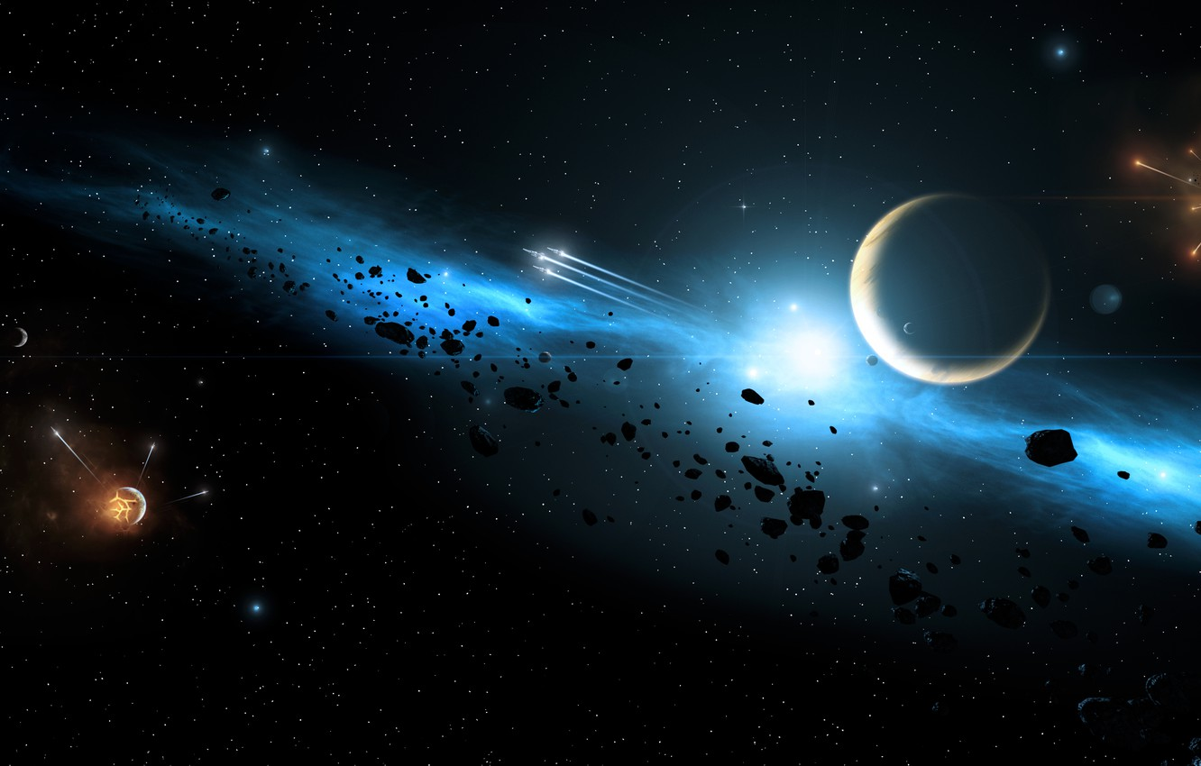 Photo wallpaper energy, planets, explosions, Sci fi
