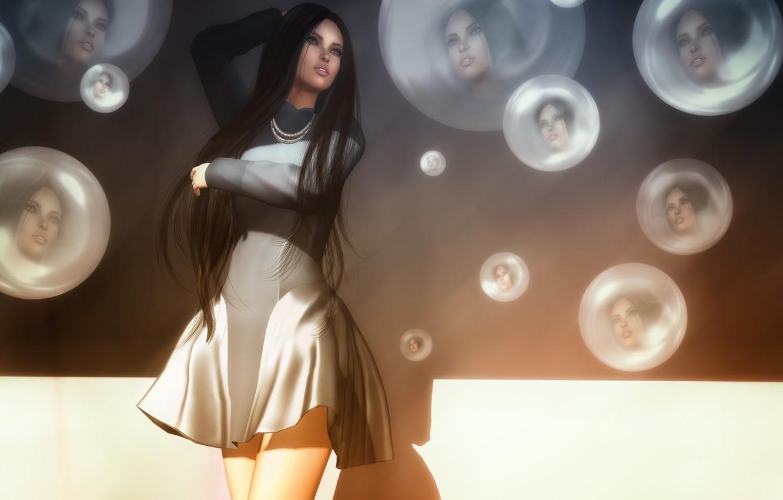 Photo wallpaper circles, face, reflection, hair, dress, beauty