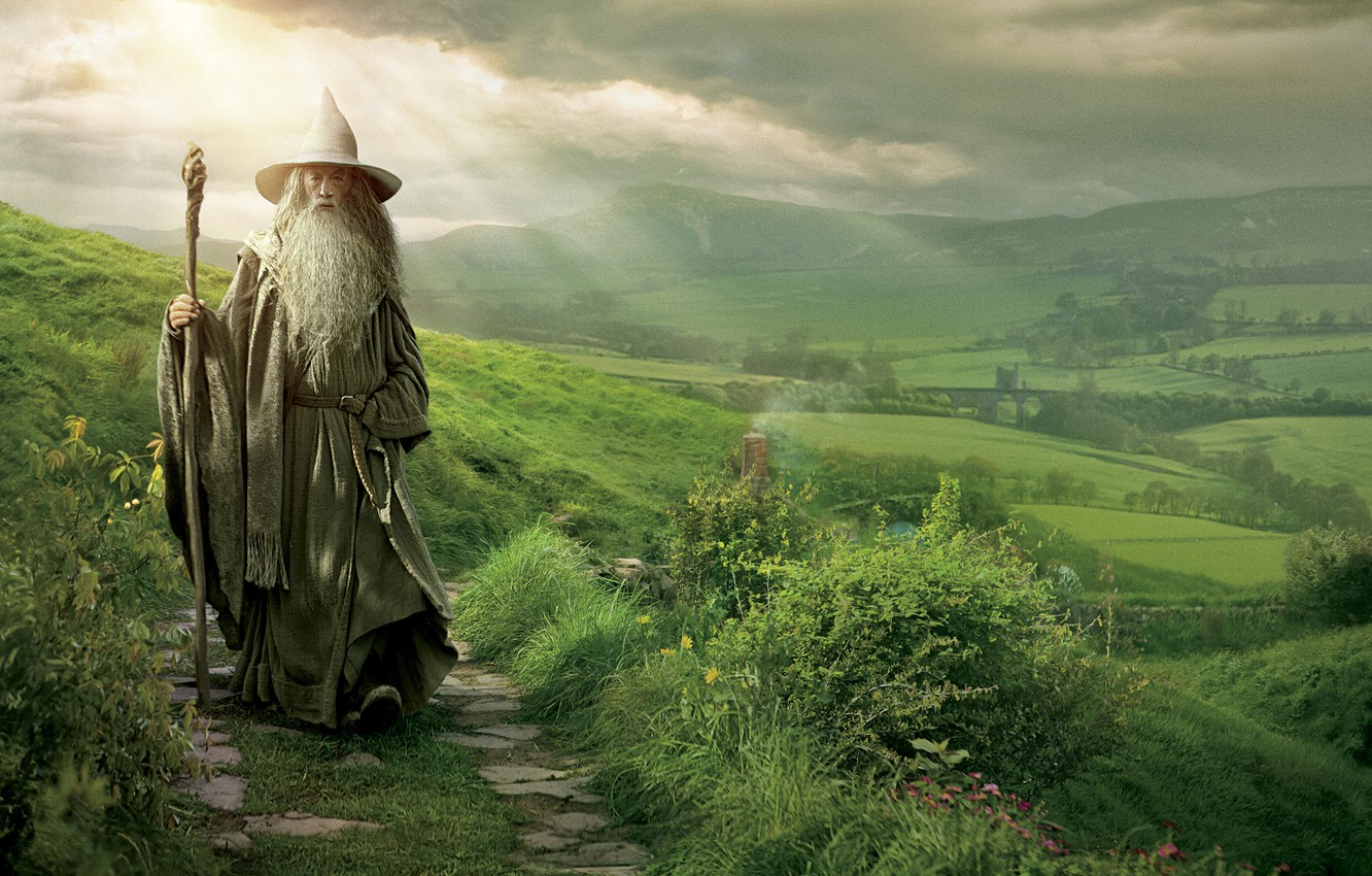 Photo wallpaper grass, hills, The Lord of the rings, path, The Lord of the Rings, the wizard, …