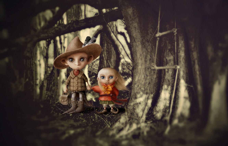 Photo wallpaper forest, children, boy, art, girl, fangs, vampires
