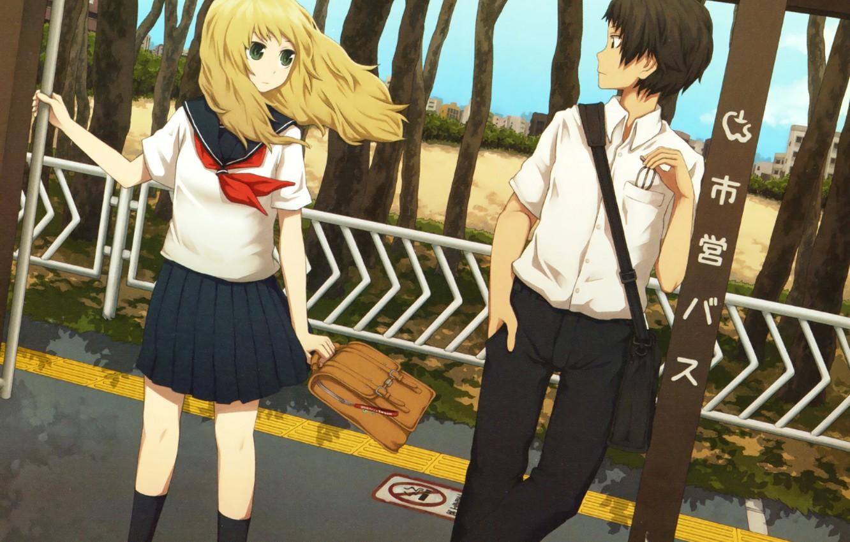 Photo wallpaper girl, anime, art, form, guy, students, chanoma, yajirushi