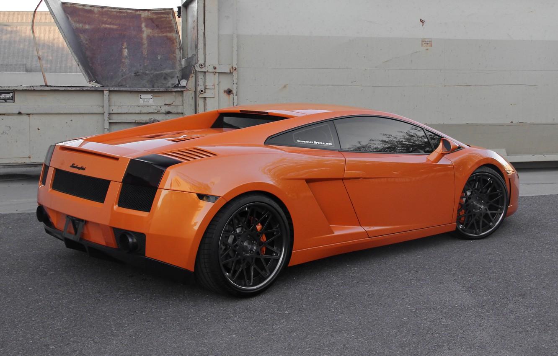 Photo wallpaper orange, black, the fence, gallardo, lamborghini, drives, rear view, orange, Lamborghini, Gallardo, lp560-4