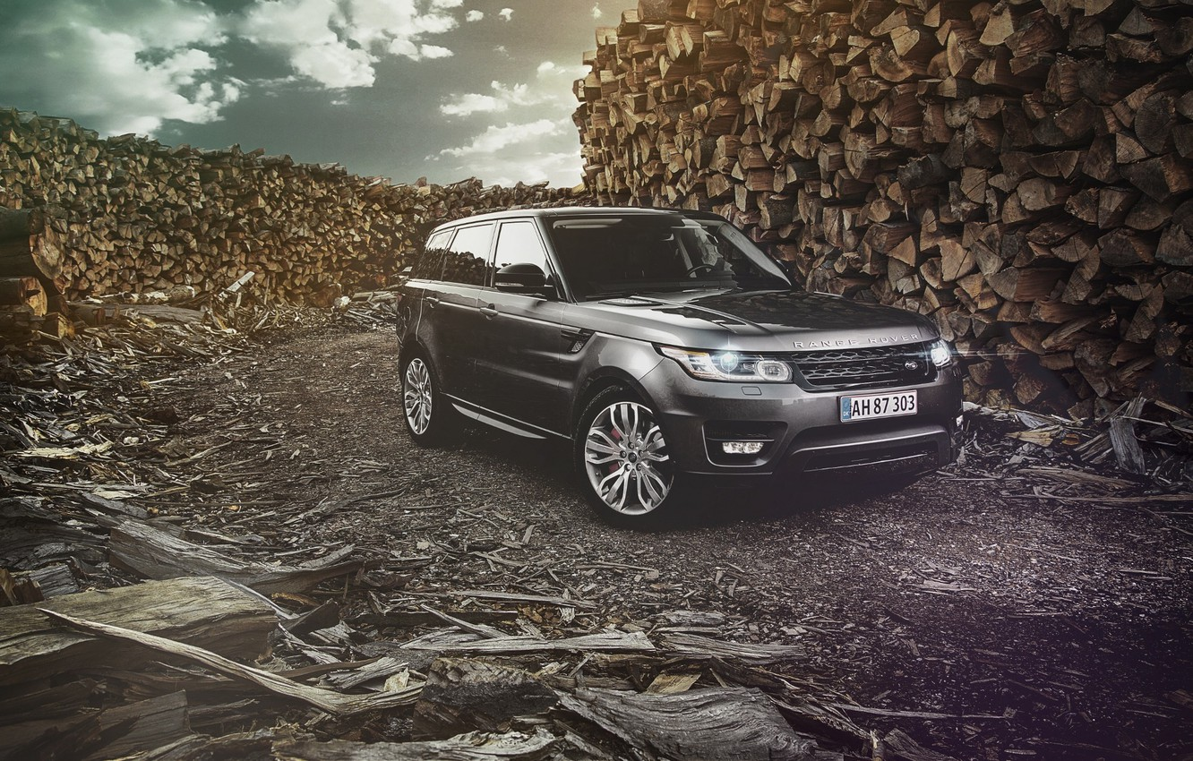 Photo wallpaper Land Rover, Range Rover, Car, Nature, Wood, Front, 4x4, Sport, Diesel, Luxury, Forrest, English