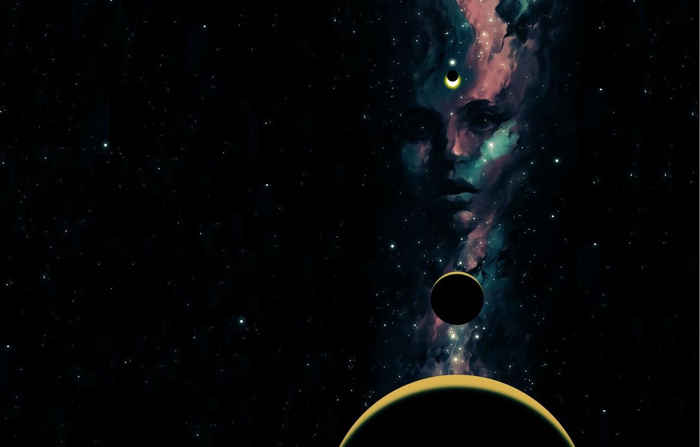 Photo wallpaper look, girl, space, stars, face, planet, art, sci-fi