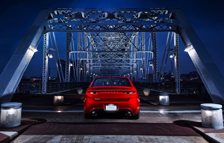Photo wallpaper night, Red, Auto, Bridge, Dodge, Dart