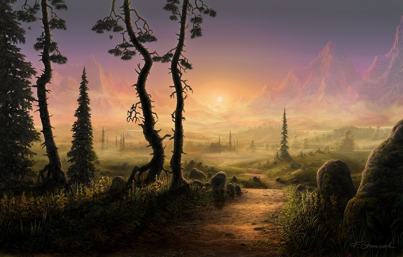 Photo wallpaper road, the sun, trees, landscape, mountains, fog, stones, spruce, morning, art, track, house, path, Fel-X