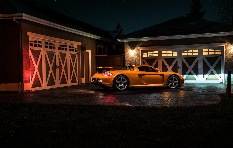 Photo wallpaper Porsche, Orange, Carrera, Supercar, Exotic, Borealis, Rear, Ligth, Nigth, Arancio