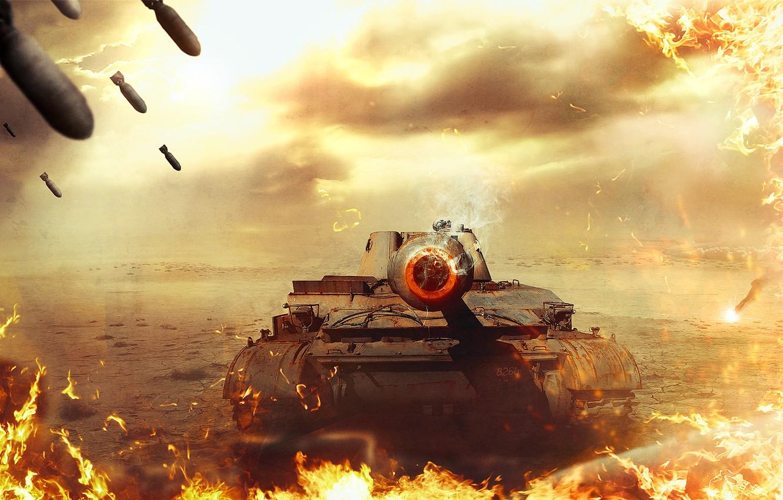 Photo wallpaper fire, war, tank, World of Tanks