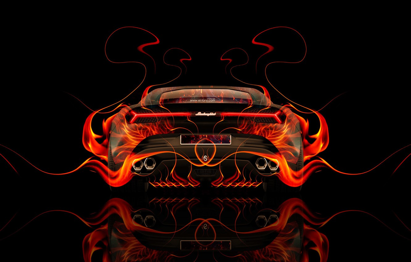 Wallpaper Auto Design Black Lamborghini Fire Machine Orange