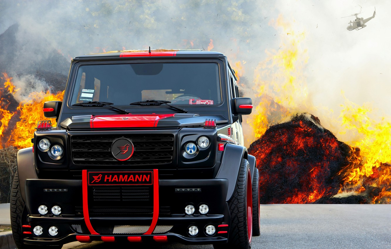 Photo wallpaper background, tuning, SUV, Hamann, G55 AMG, black and red, Mercedes Benz