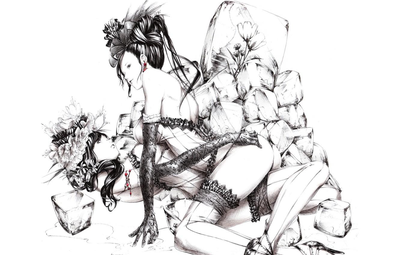 Photo wallpaper ice, flowers, black and white, figure, Girls, stockings, gloves, lace, art, corsets, Sawasawa