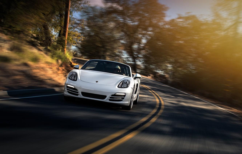Photo wallpaper Porsche, Car, Boxster, Speed, Front, Sun, White, Sport, 2013