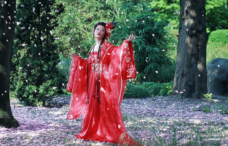Photo wallpaper East, kimono, Cherry Blossom