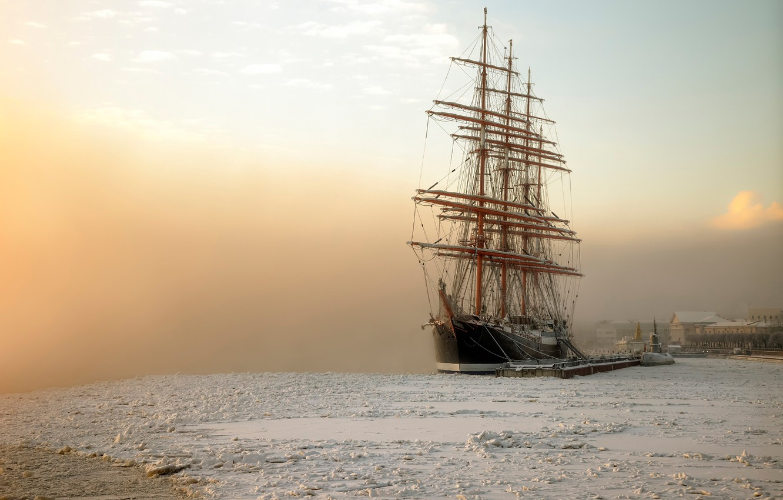 Photo wallpaper frost, Saint Petersburg, January, barque Sedov