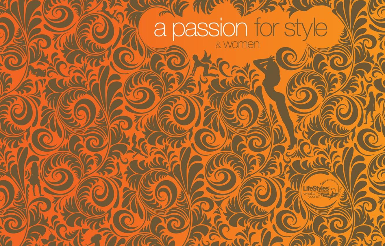 Photo wallpaper orange, girls, pattern