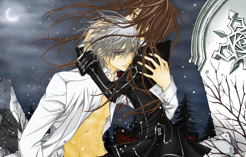 Photo wallpaper snow, night, the wind, the moon, hugs, plate, vampire knight, yuuki cross, kiryu zero, knight-vampire