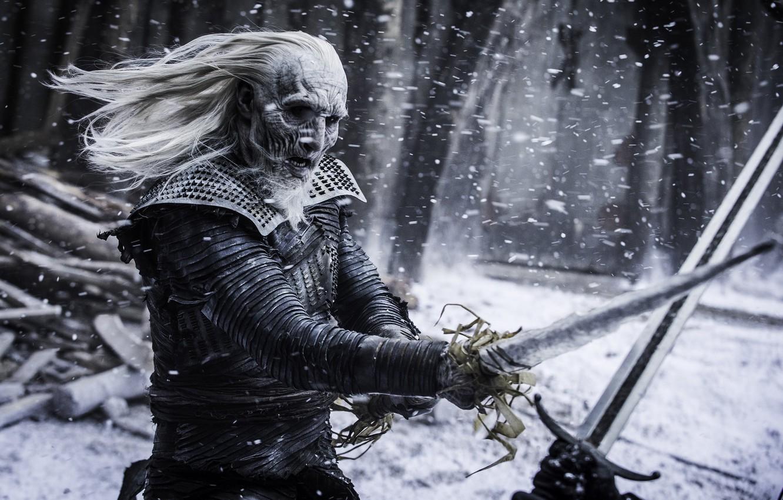 Photo wallpaper Frozen, Fantasy, Winter, Steel, Snow, White, year, Game, Game of Thrones, Dead, Ice, warrior, EXCLUSIVE, …