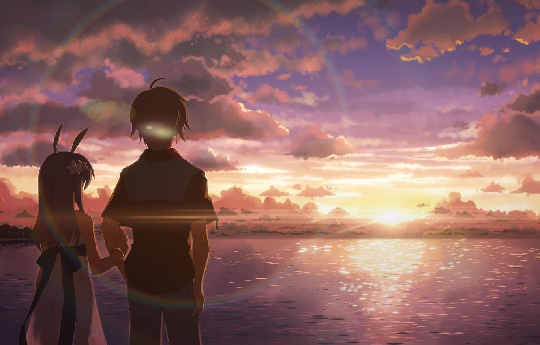 Photo wallpaper the sky, water, clouds, dawn, two, studio s.d.t., yuuki tatsuya