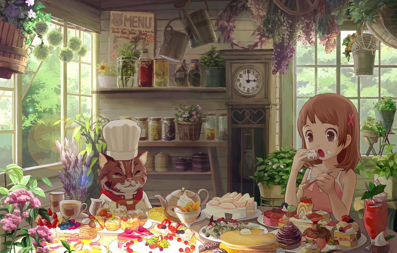 Photo wallpaper cat, flowers, girl, sweets, cake, house, eating, cakes