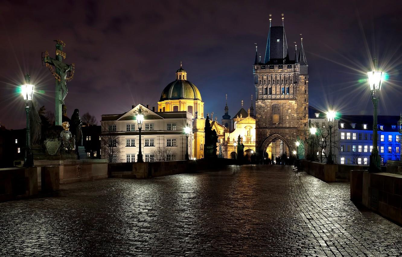 Photo wallpaper light, night, the city, people, stone, the evening, Prague, Czech Republic, lights, sculpture, Prague, The …