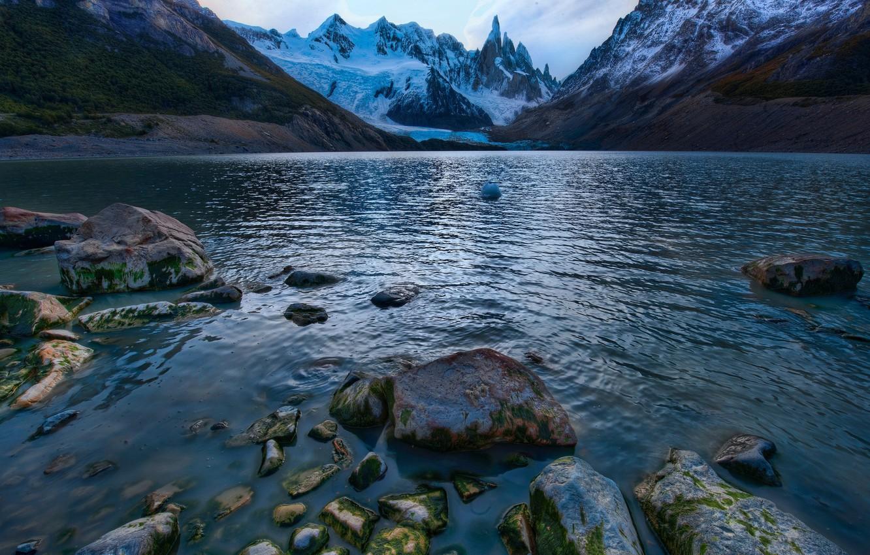 Photo wallpaper mountains, lake, stones