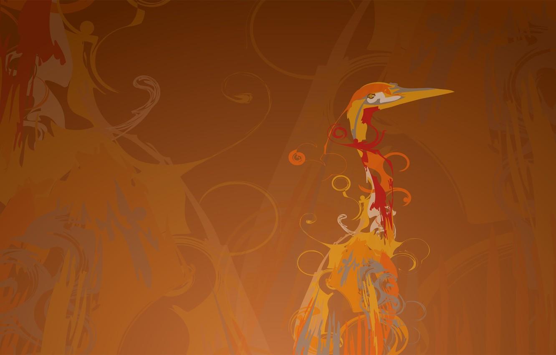 Photo wallpaper line, background, bird, figure, curls, Heron, crane, Ubuntu