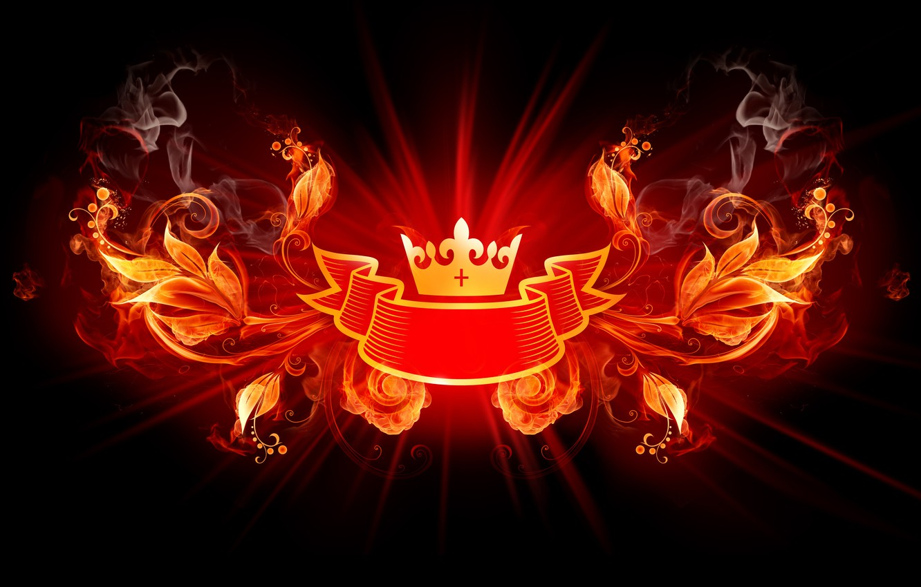 Photo wallpaper smoke, crown, Fire