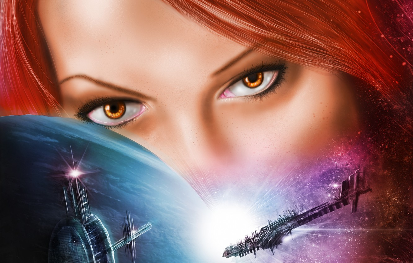 Photo wallpaper eyes, look, girl, space, face, fiction, planet, art, galaxy, red hair