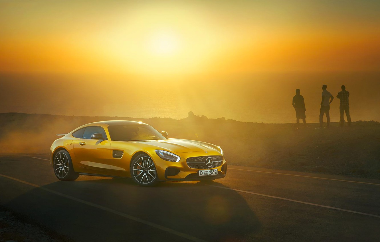 Photo wallpaper Mercedes-Benz, Front, AMG, Sun, Day, Yellow, Road, Sea, 2015, GT S