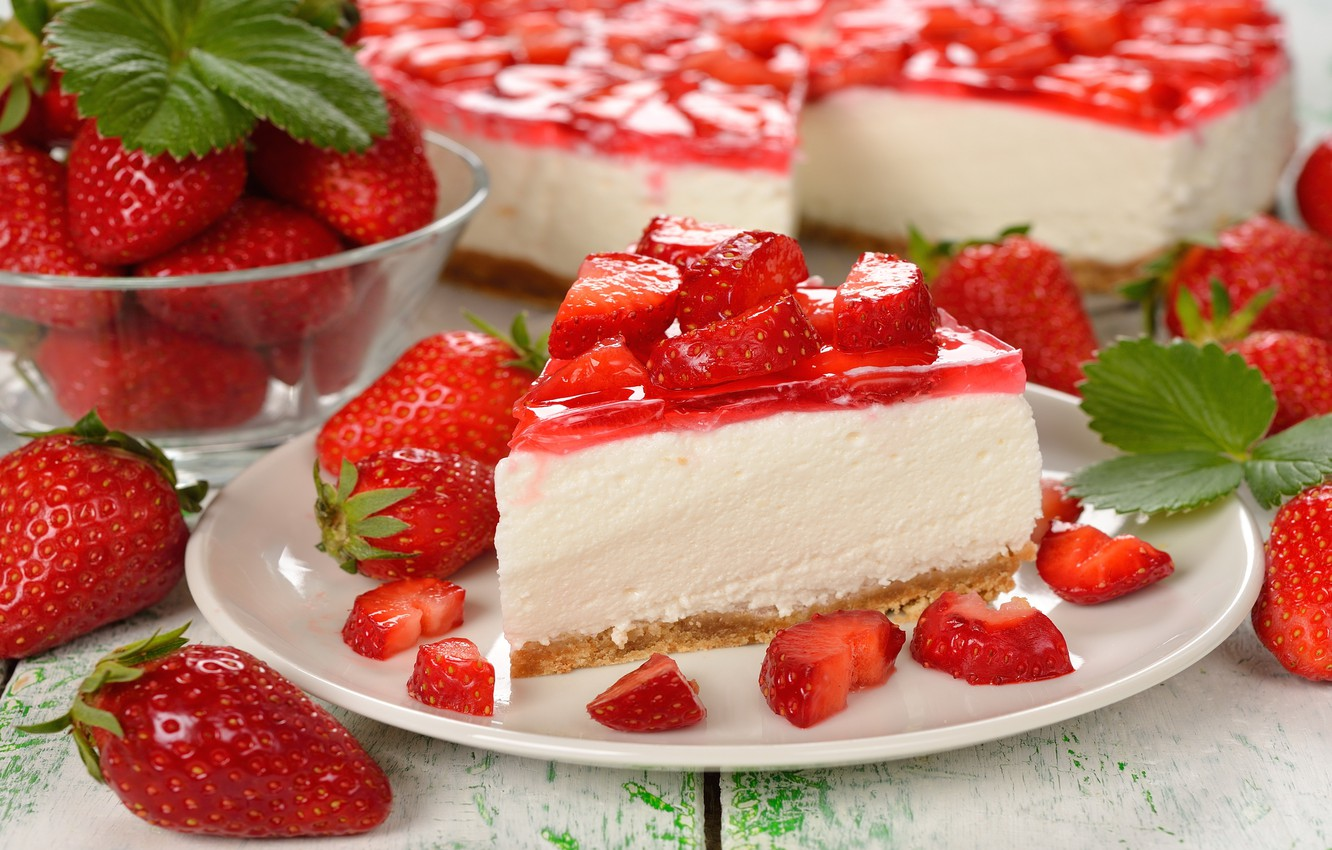 Wallpaper berries, strawberry, cake, cake, cake, dessert, cakes, sweet, sweet, strawberry, dessert, berries images for desktop, section еда - download
