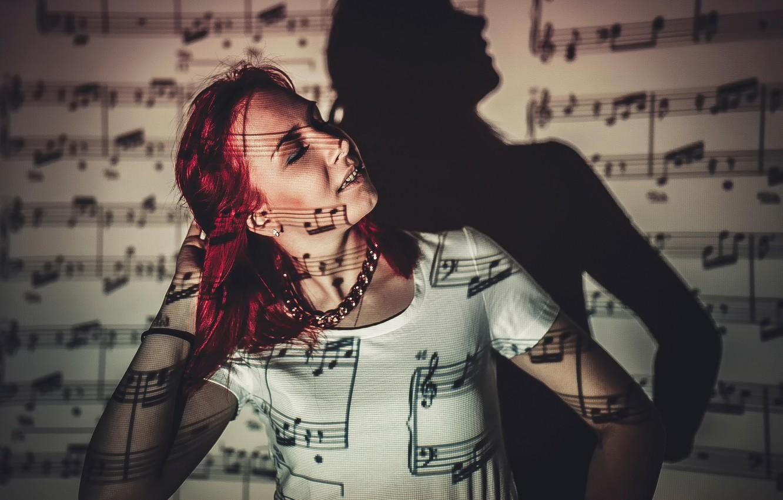 Photo wallpaper girl, light, notes, shadow