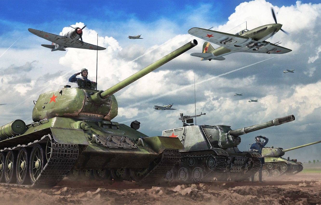 Photo wallpaper The sky, Clouds, Fighter, Earth, Iron, Trunk, USSR, Aviation, Tanks, ISU-152, PT-ACS, The situation, T-34-85, …
