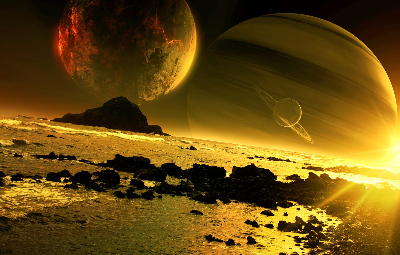 Photo wallpaper sea, sunset, rocks, planet, art, satellites, QAuZ