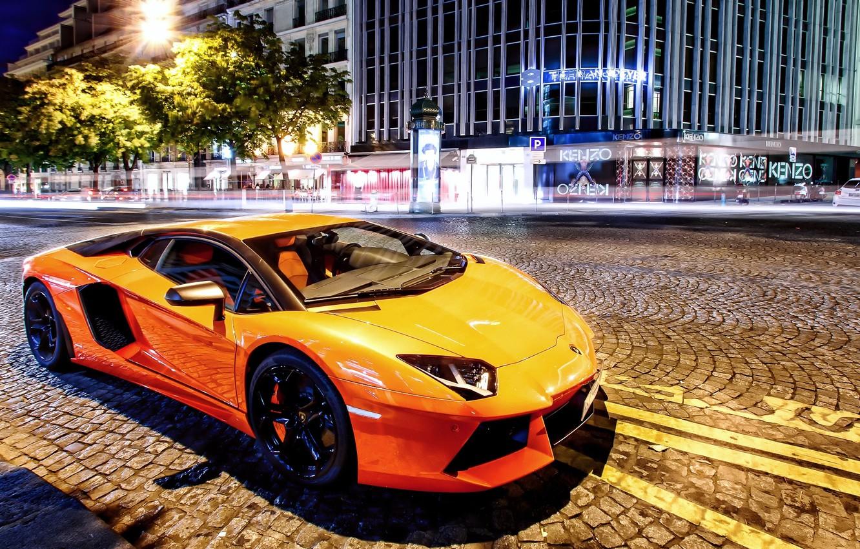 Photo wallpaper street, Lamborghini, supercar, Lamborghini, LP700-4, Aventador, aventador, 2014