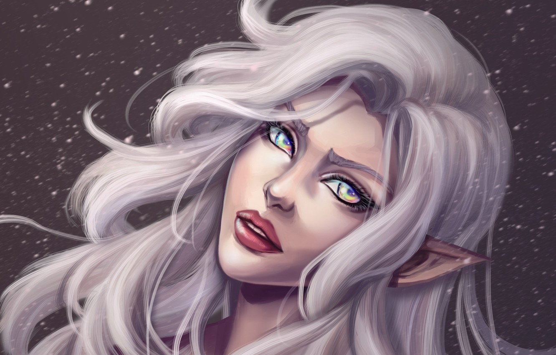 Photo wallpaper eyes, look, girl, face, hair, elf, art, lips, white, ears, ears