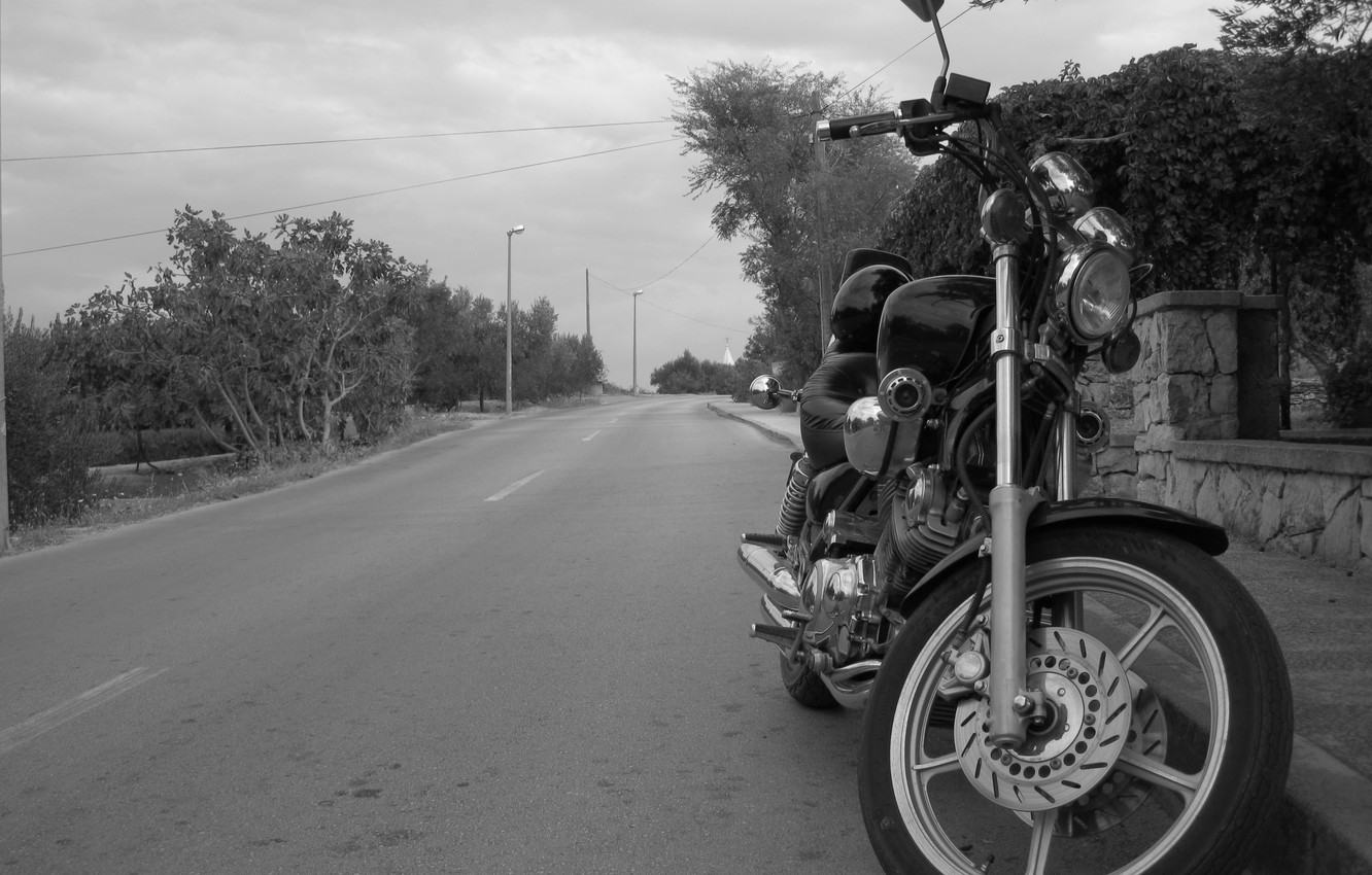 Photo wallpaper black and white, Road, Motorcycle