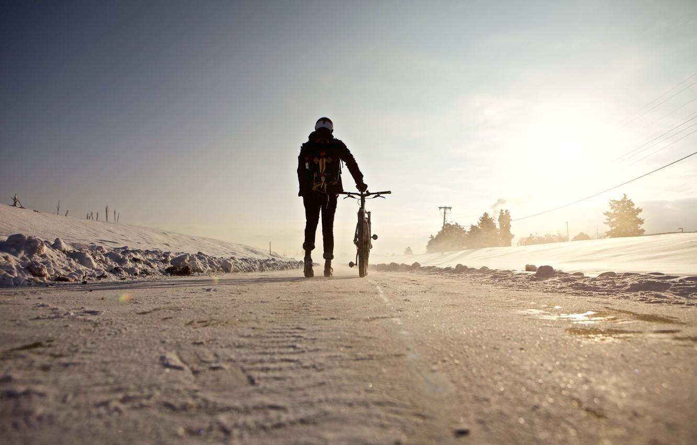 Photo wallpaper winter, road, the sun, snow, bike, people, shadow, racer, power line