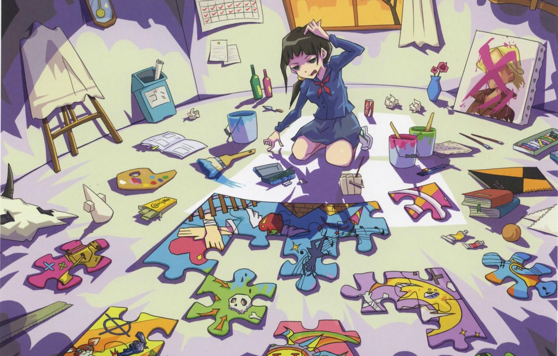 Photo wallpaper paint, watch, books, skull, window, girl, bucket, puzzles, palette, schoolgirl, brush, artist, mess, in the …