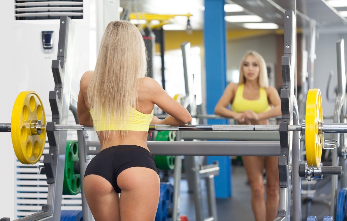 Photo wallpaper model, blonde, reflection, pose, female, mirror, workout, fitness