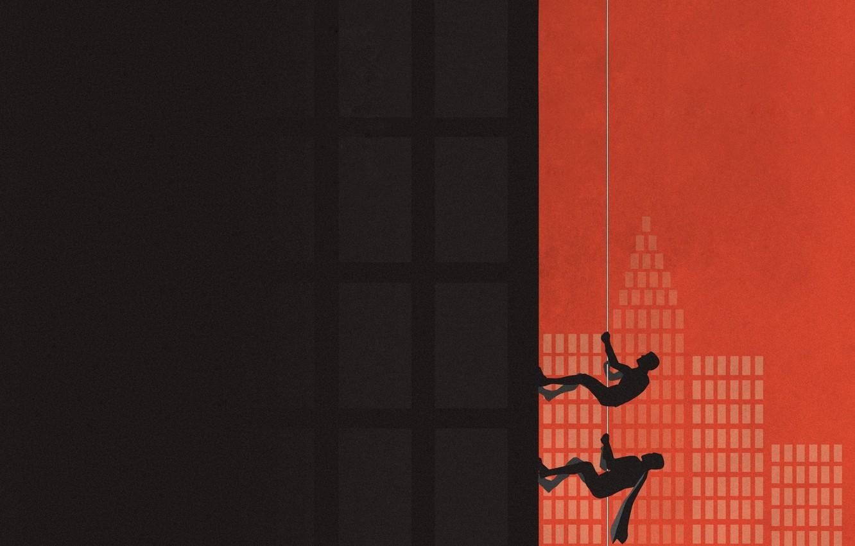Photo wallpaper Minimalism, Wall, People, Rope