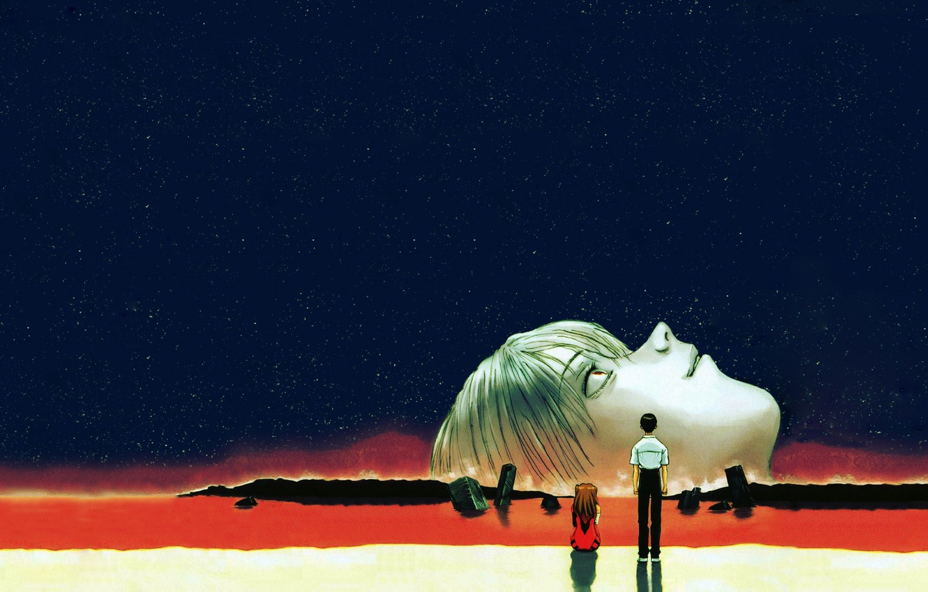 Photo wallpaper Stars, evangelion, Ayanami Rei, Evangelion, Asuka Langley, The night sky, It Became Shinji, The end …