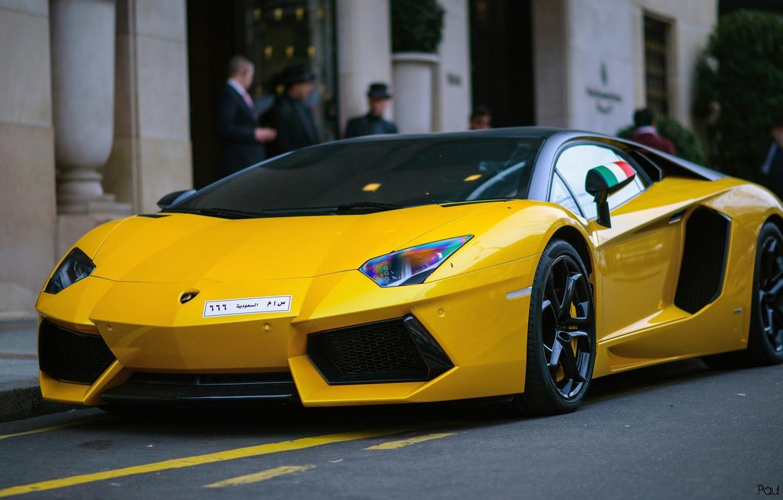 Photo wallpaper Lamborghini, V12, Yellow, Aventador, Supercar