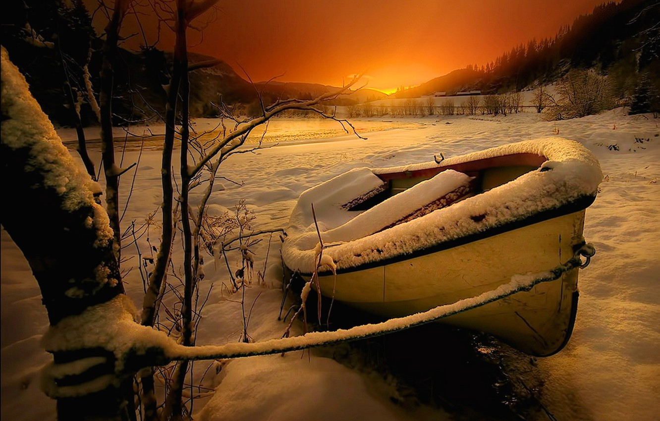 Photo wallpaper winter, the sky, snow, trees, landscape, sunset, mountains, nature, river, boat, river, sky, trees, landscape, …