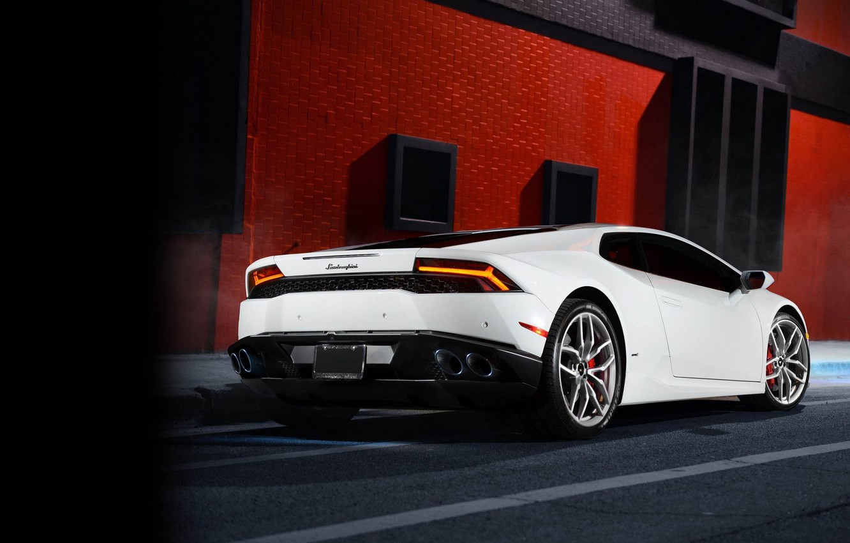Photo wallpaper Lamborghini, White, Smoke, Supercar, Rear, Huracan, LP610-4, Ligth
