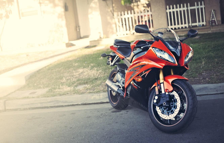 Photo wallpaper red, motorcycle, red, Yamaha, Blik, motorcycle, Yamaha, YZF-R6
