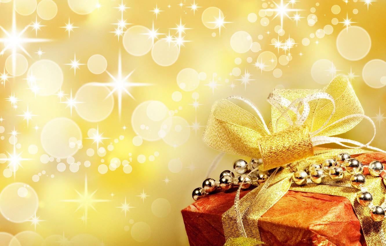 Photo wallpaper circles, glare, gift, new year, ribbon