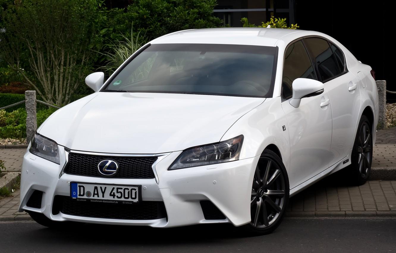 Photo wallpaper White, Lexus, Sedan, F Sport, Hybrid, Handsome, GS450h