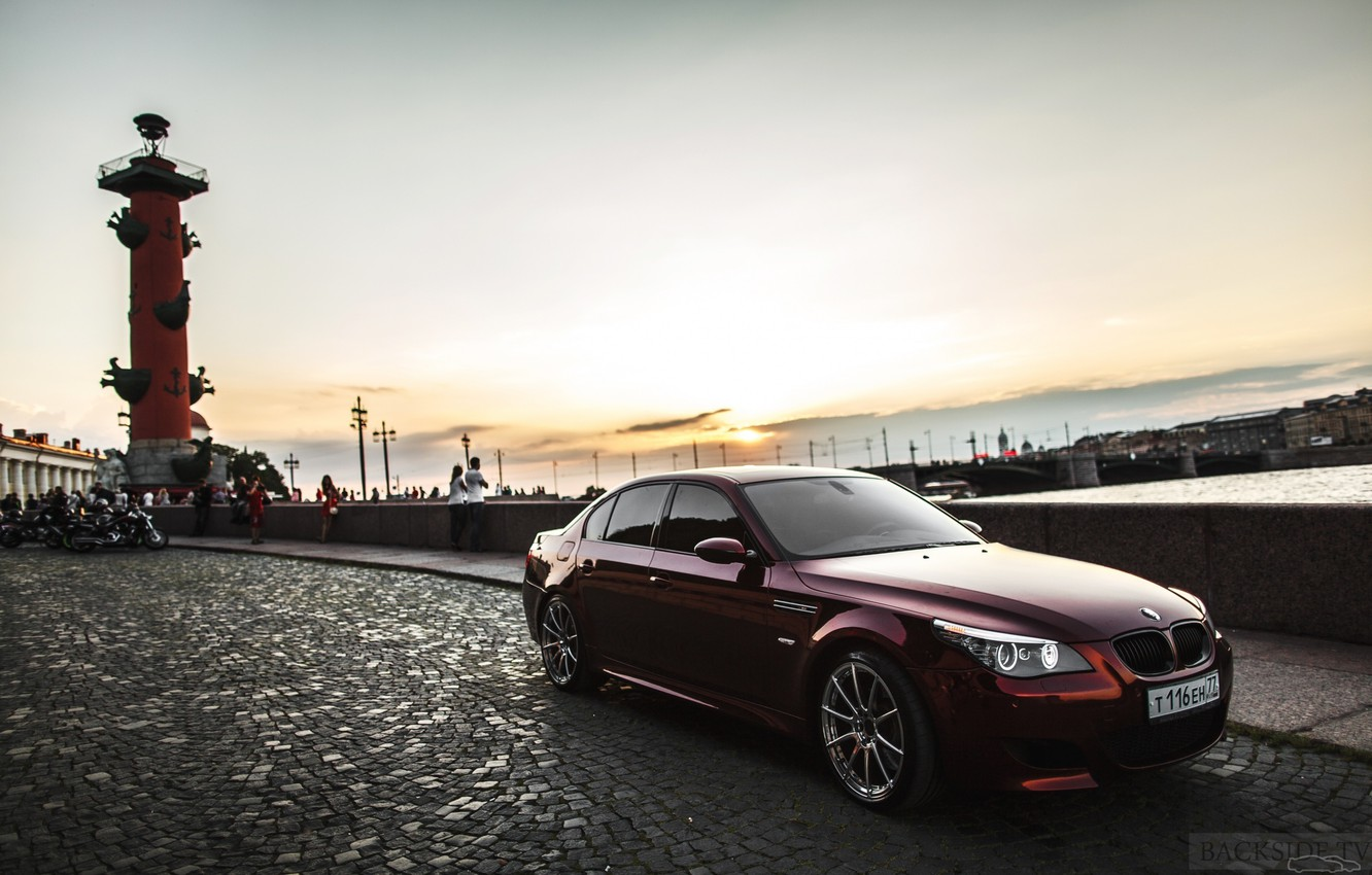Photo wallpaper machine, auto, sunset, BMW, Shadow, auto, review, E60, The how to check engine temperature, Smotra, …