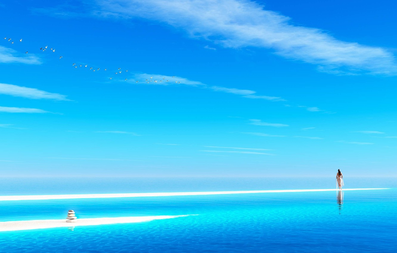 Photo wallpaper sea, the sky, water, clouds, birds, stones, the ocean, Girl