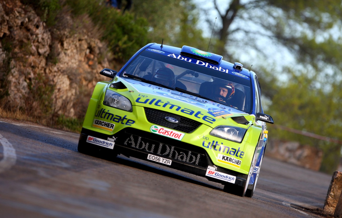 Photo wallpaper Ford, Auto, Race, Racer, Focus, WRC, Rally, The front, In Motion